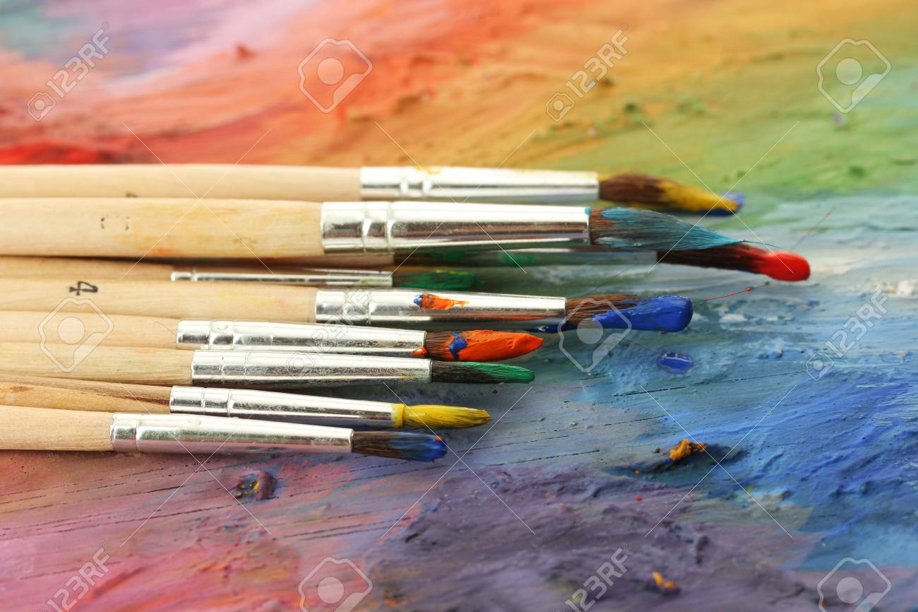 acrylic paint and brushes on wooden palette Stock Photo - 15095555