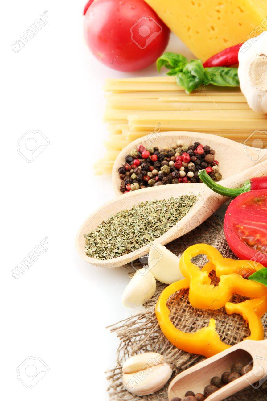 Pasta spaghetti, vegetables and spices, isolated on white Stock Photo - 15151920