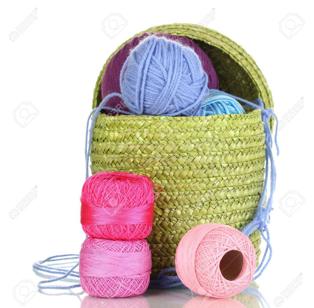 Colorful yarn for knitting in green basket isolated on white Stock Photo - 15150564