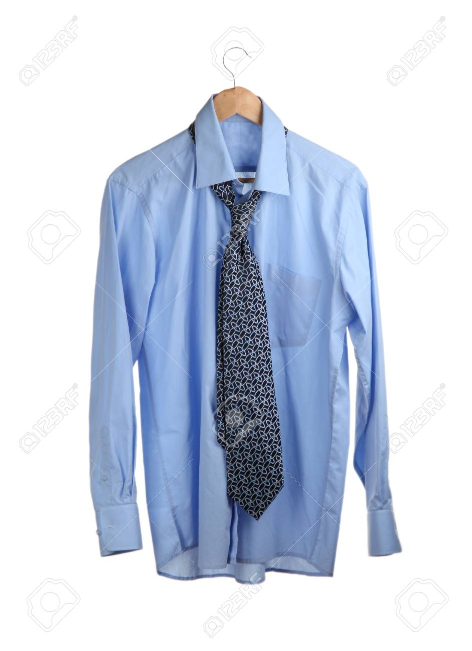 blue shirt with tie on wooden hanger isolated on white Stock Photo - 15281876