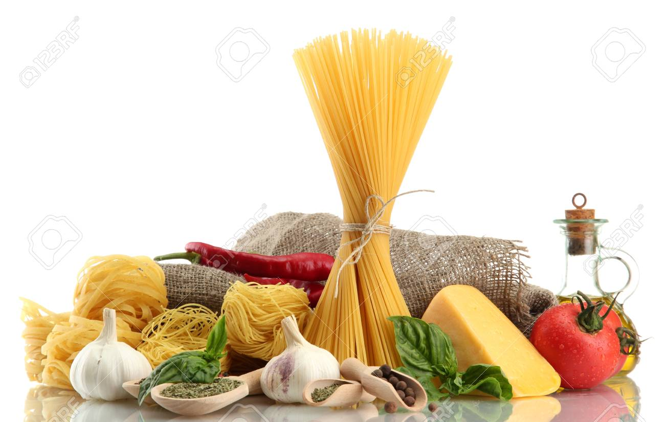 Pasta spaghetti, vegetables and spices, isolated on white Stock Photo - 15375695