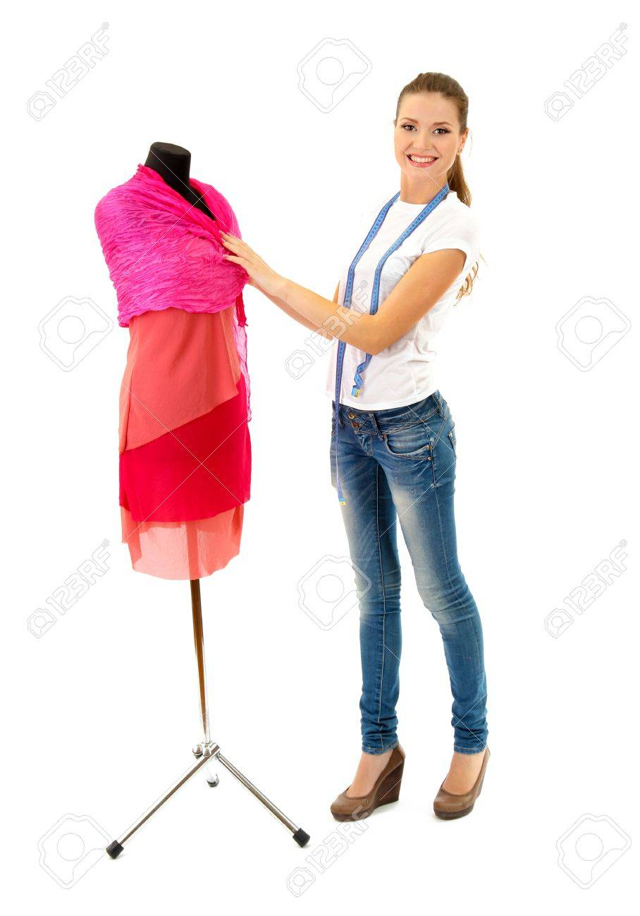 beautiful young woman and mannequin isolated on white Stock Photo - 15814480
