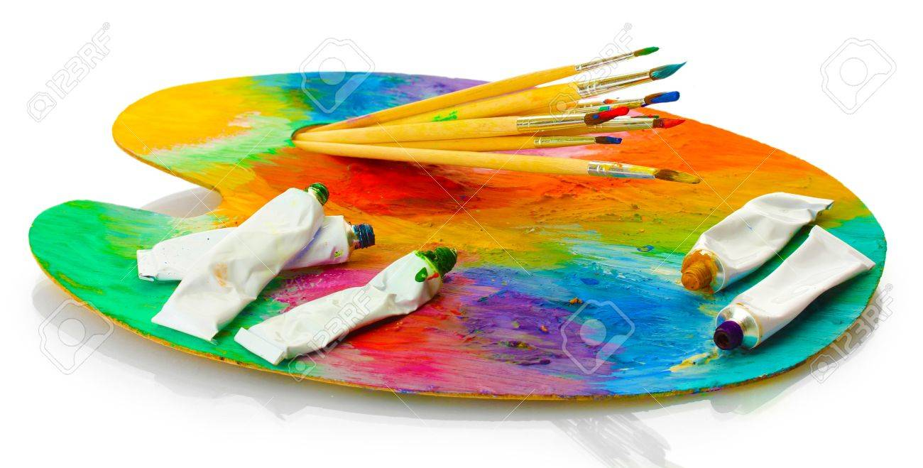 acrylic paint, paint tubes and brushes on wooden palette, isolated on white Stock Photo - 15601127