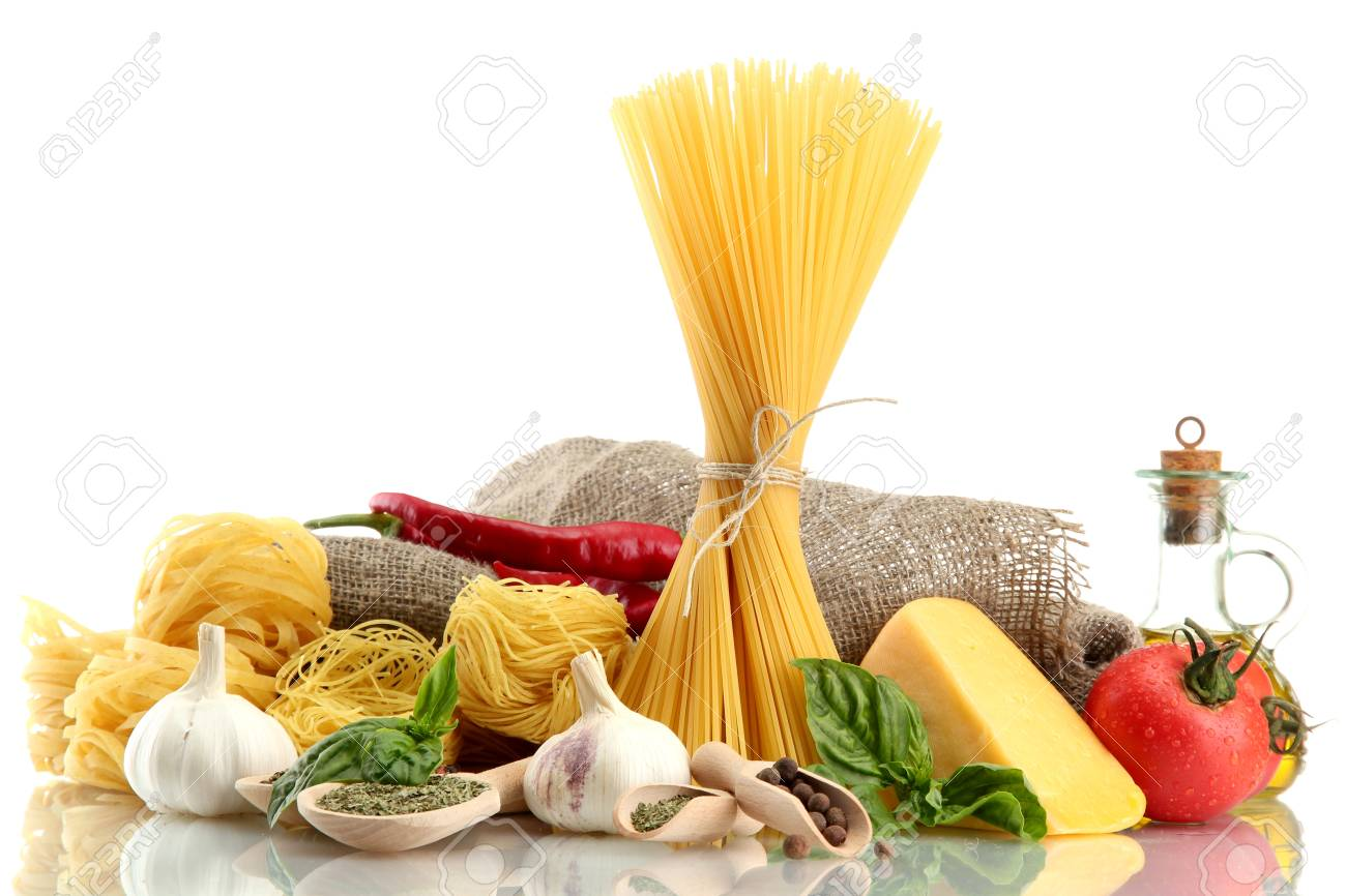Pasta spaghetti, vegetables and spices, isolated on white Stock Photo - 15641892