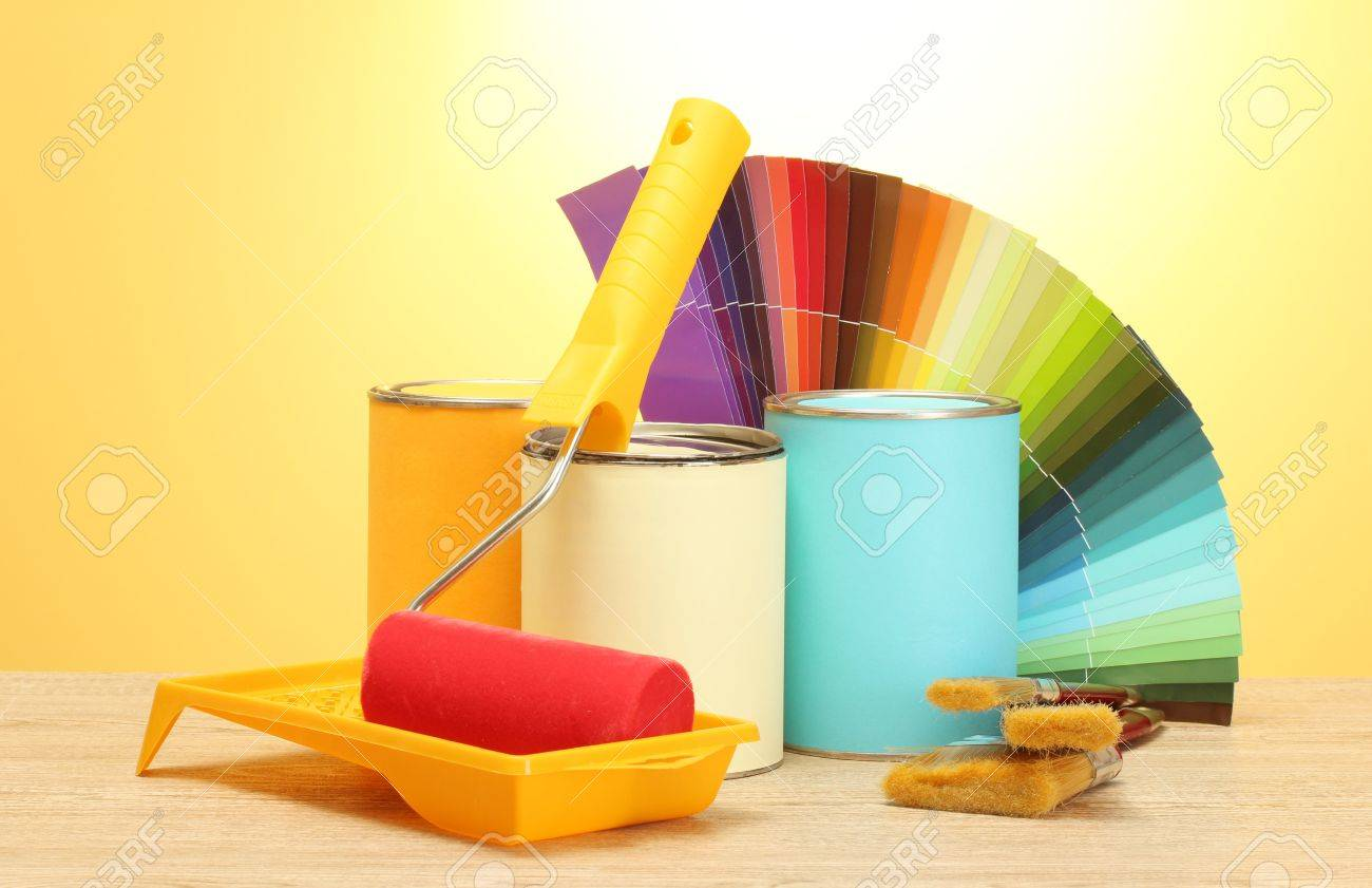 paint choice images stock pictures royalty free paint choice paint choice tin cans with paint roller brushes and bright palette of colors
