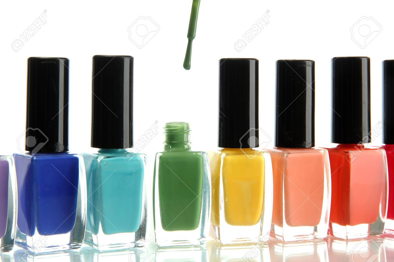 Group of bright nail polishes isolated on white Stock Photo - 15737988