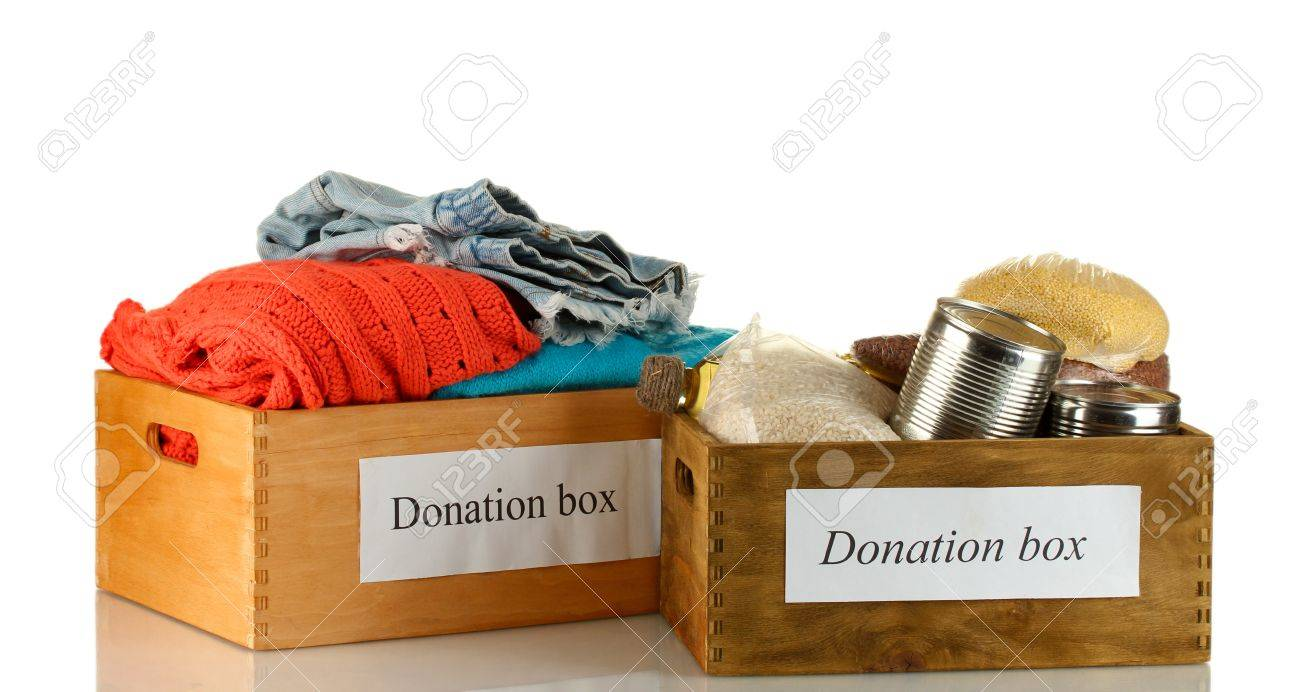 Donation boxes with clothing and food isolated on white Stock Photo - 15742862