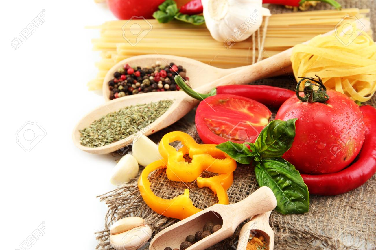 Pasta spaghetti, vegetables and spices, isolated on white Stock Photo - 15931696
