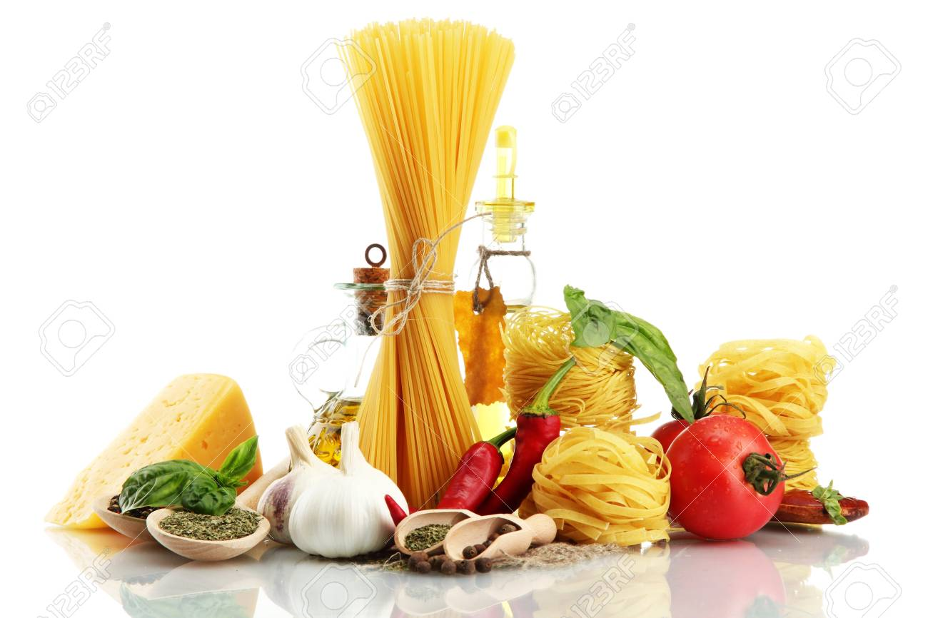 Pasta spaghetti, vegetables, spices and oil, isolated on white Stock Photo - 15963740