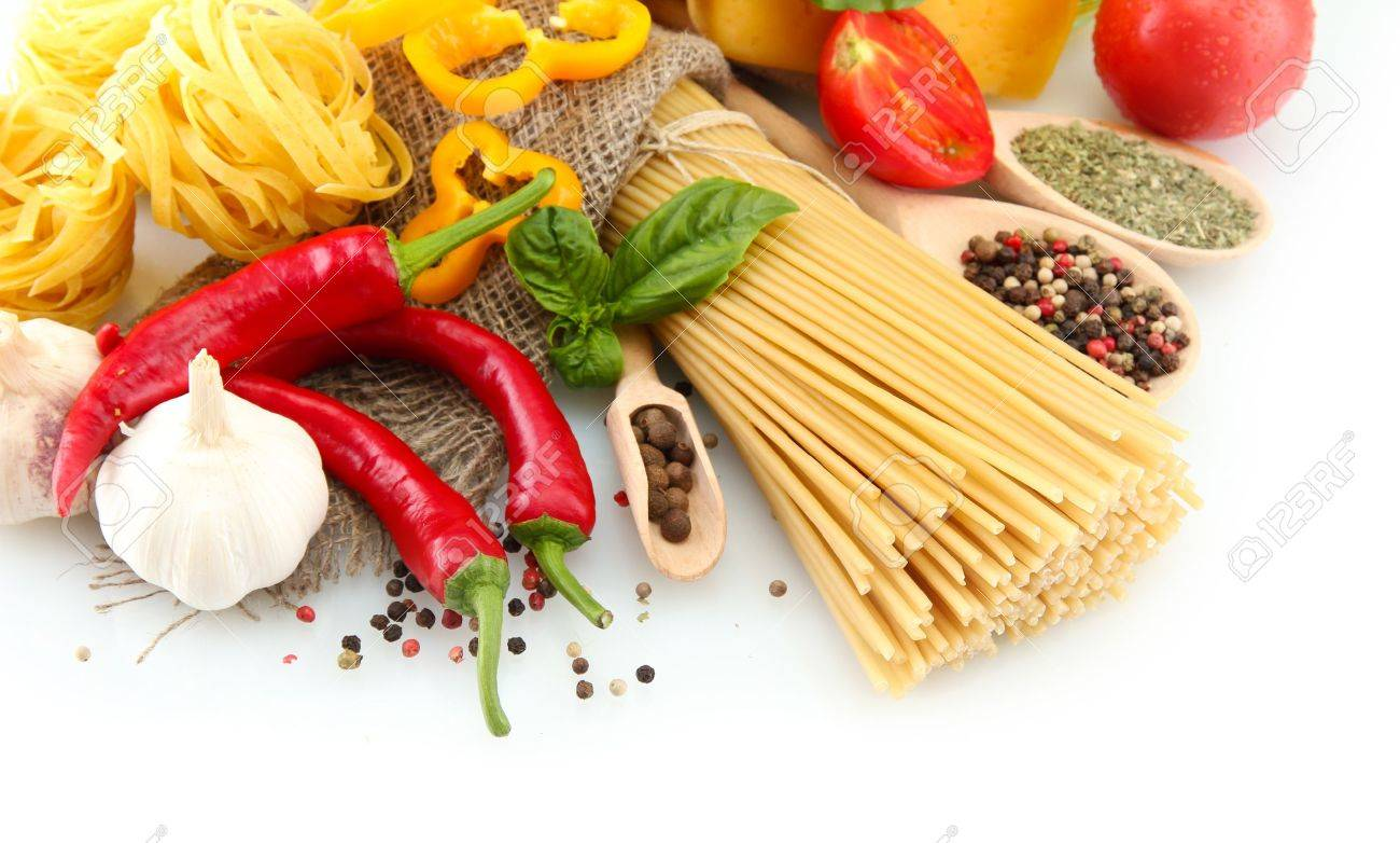 Pasta spaghetti, vegetables and spices, isolated on white Stock Photo - 16086917
