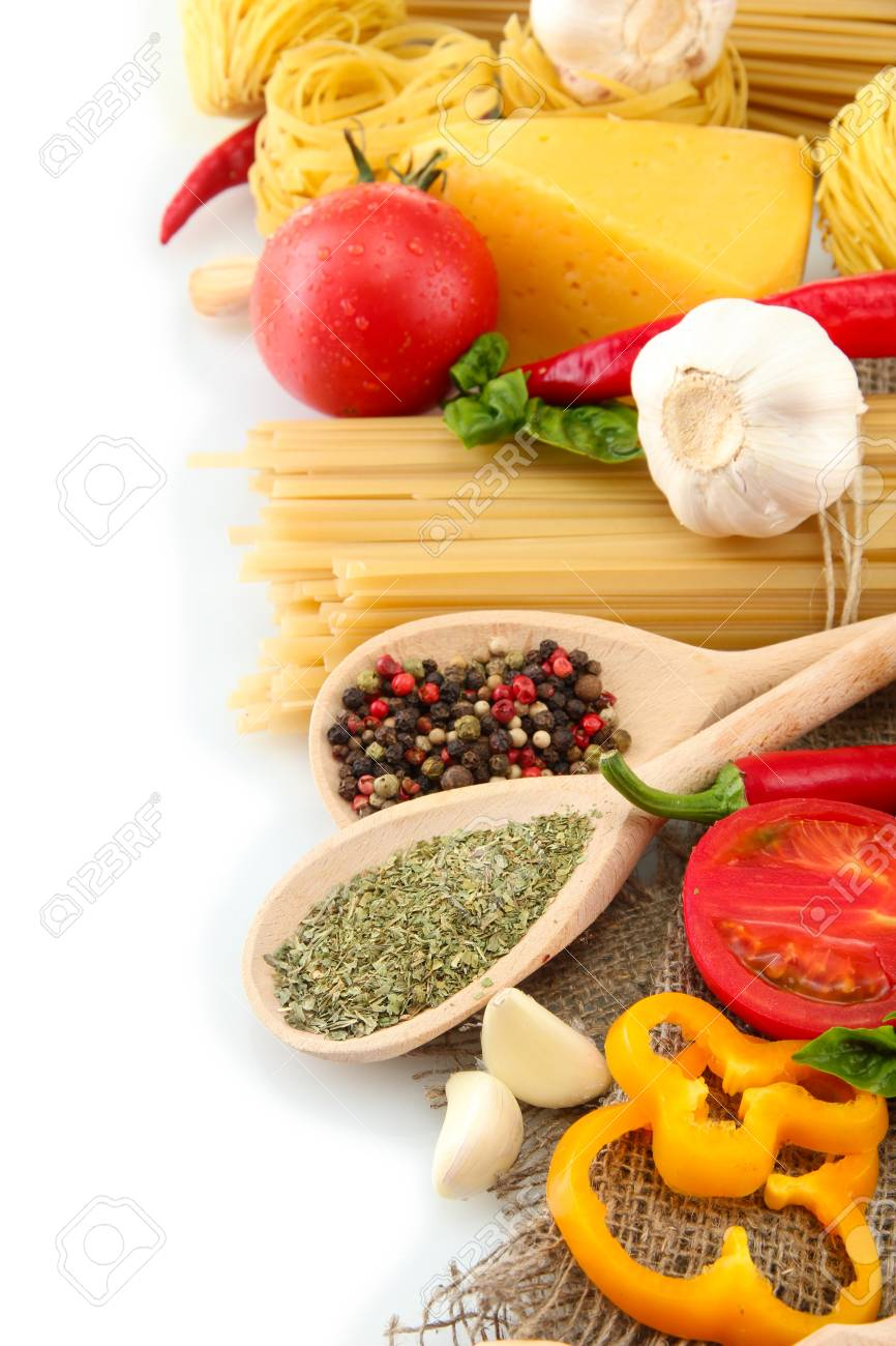 Pasta spaghetti, vegetables and spices, isolated on white Stock Photo - 16087027