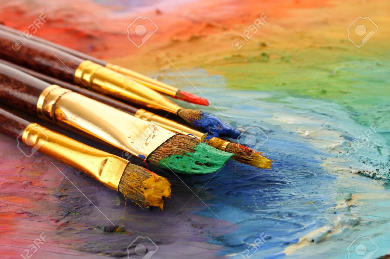 acrylic paint and brushes on wooden palette Stock Photo - 16107882