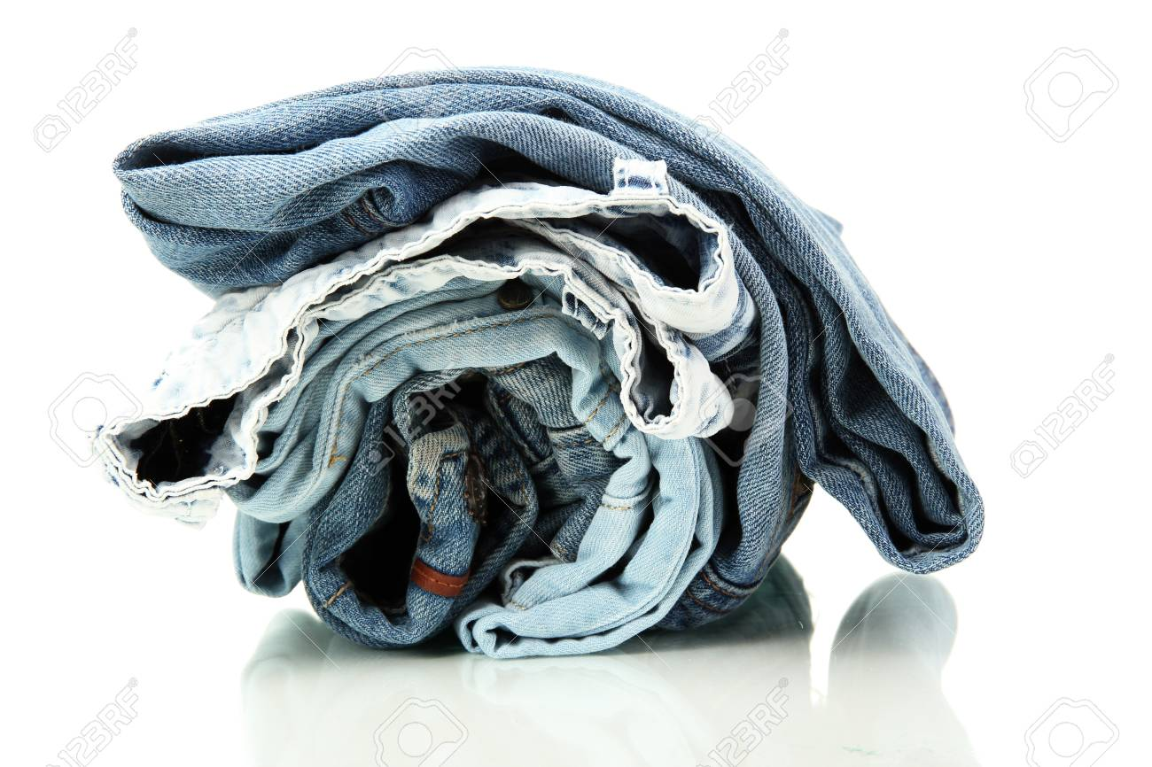 Lot of different blue jeans isolated on white Stock Photo - 16132482