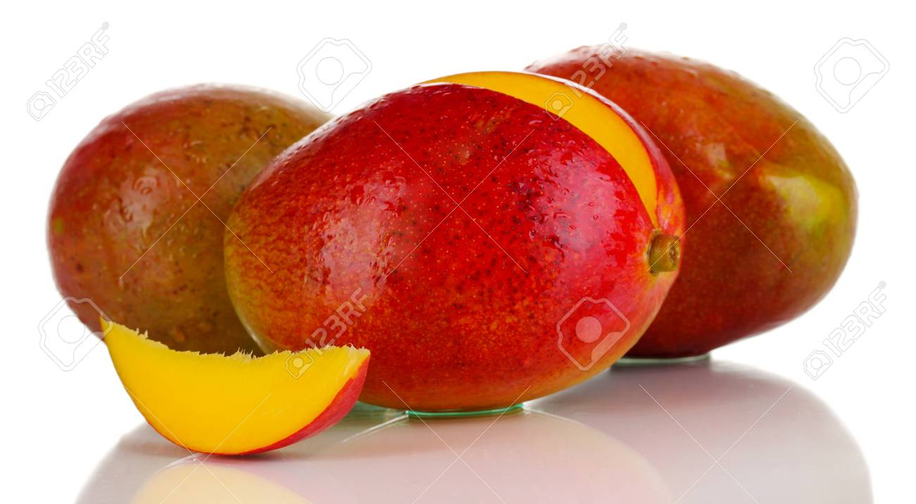 Ripe appetizing mango isolated on white Stock Photo - 16219396