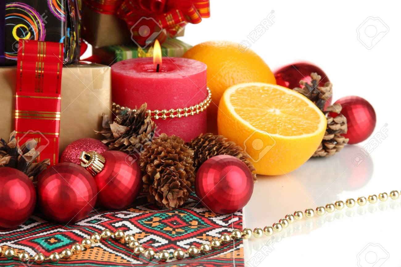 Composition from Christmas decorations isolated on white Stock Photo - 16547290