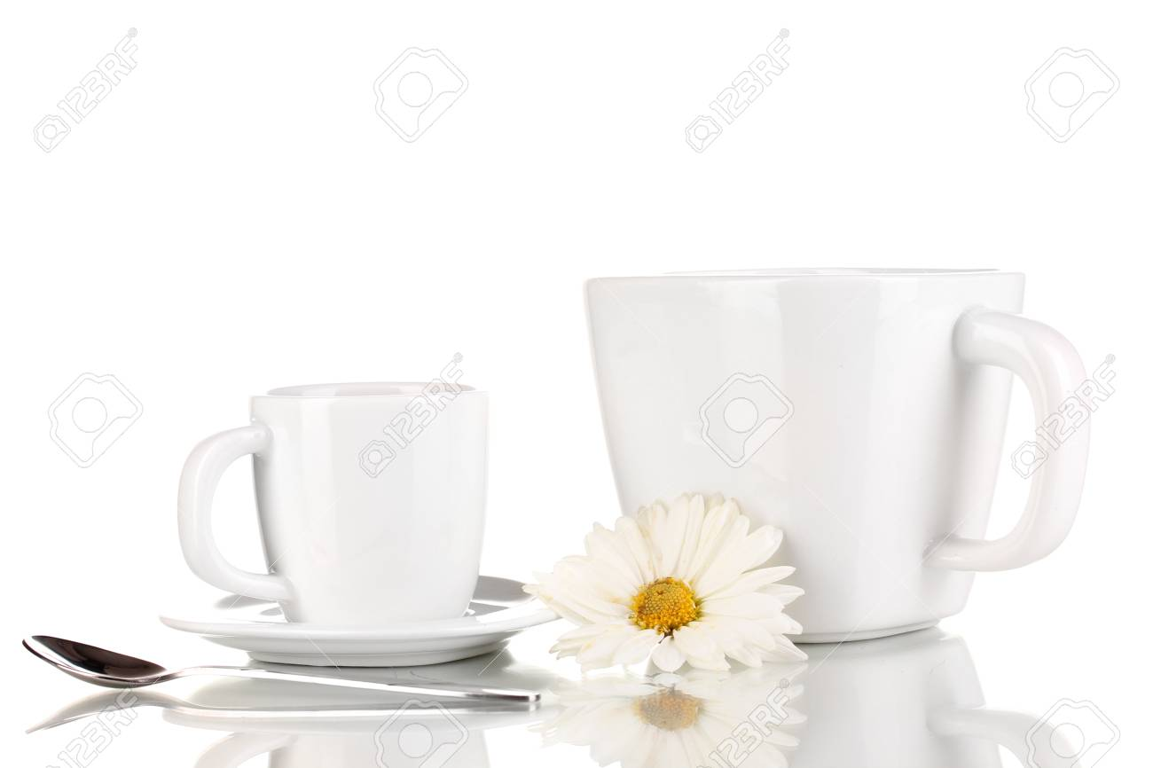 A cup of strong coffee and sweet cream isolated on white Stock Photo - 16544603