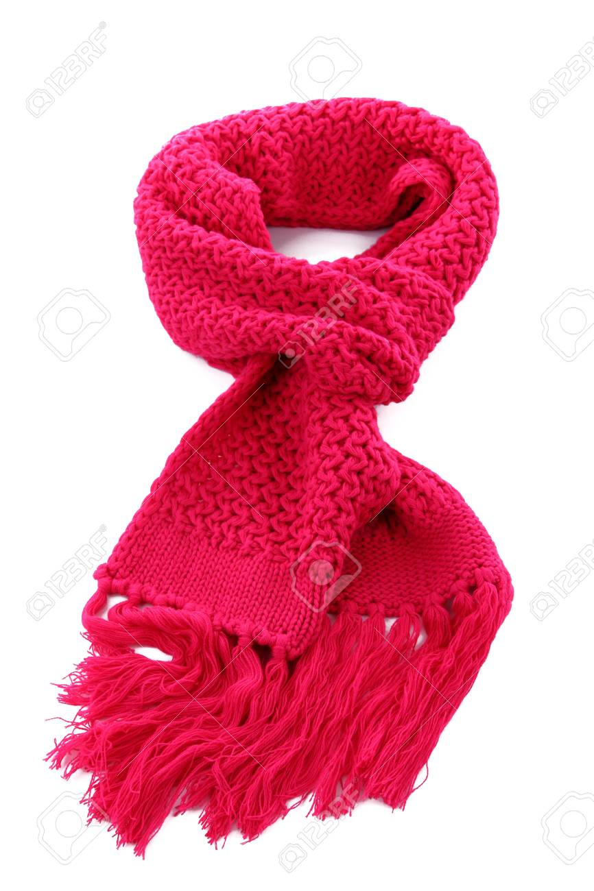 Pink knitted scarf isolated on white Stock Photo - 16603649