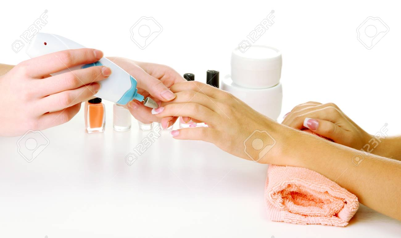 Manicure process in beauty salon, close up Stock Photo - 16645204