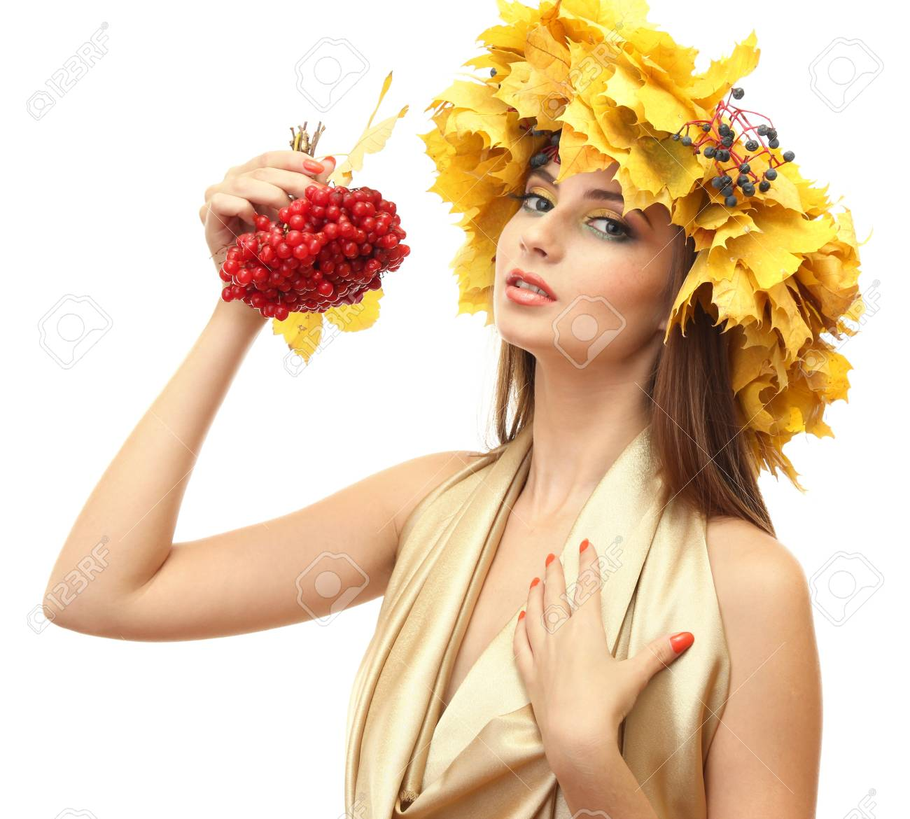 beautiful young woman with yellow autumn wreath and viburnum, isolated on white Stock Photo - 17051896