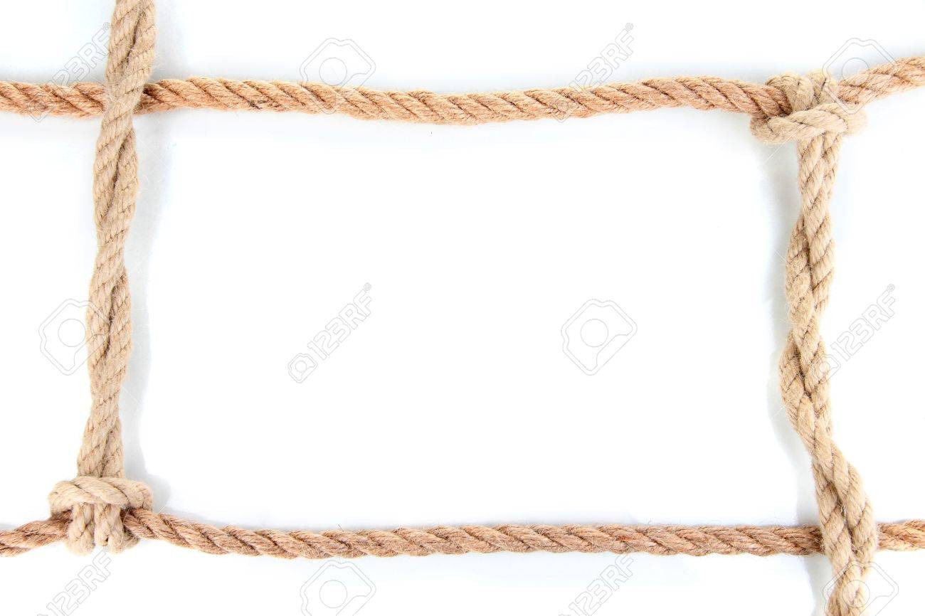 frame composed of rope isolated on white stock photo 16830448