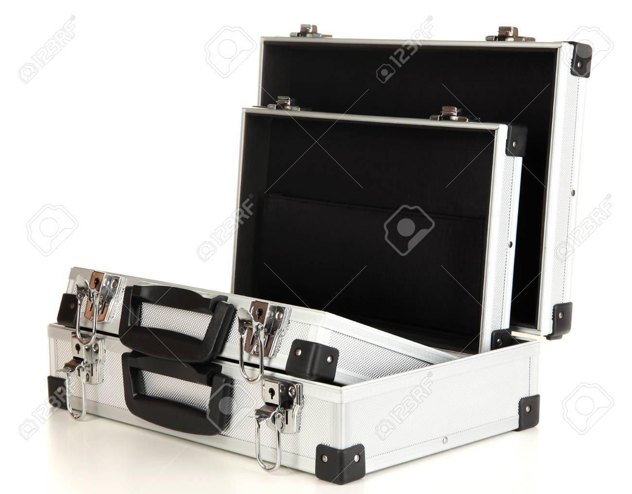 Opened silvery suitcases isolated on white Stock Photo - 16859382