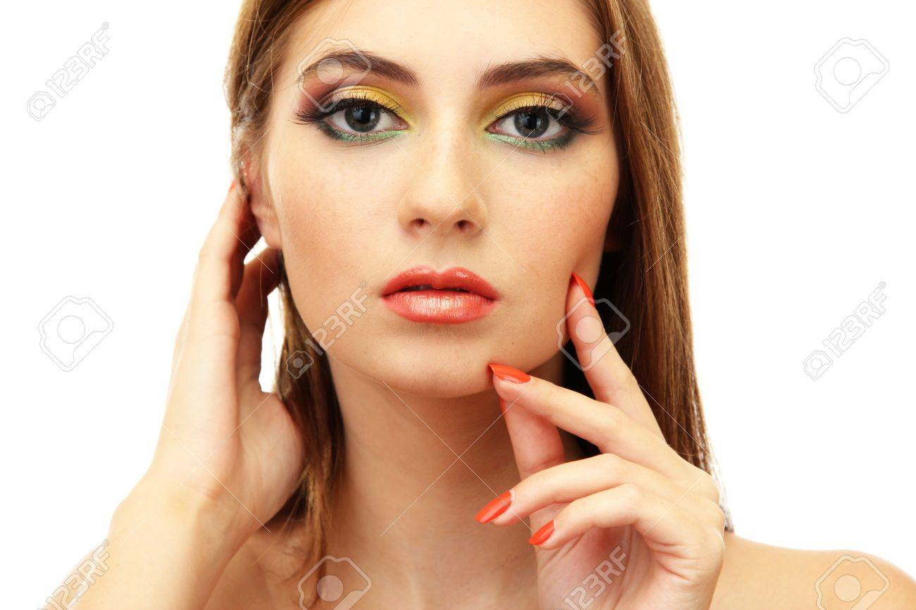 portrait of sexy young woman with glamour make up and orange manicure Stock Photo - 17282933