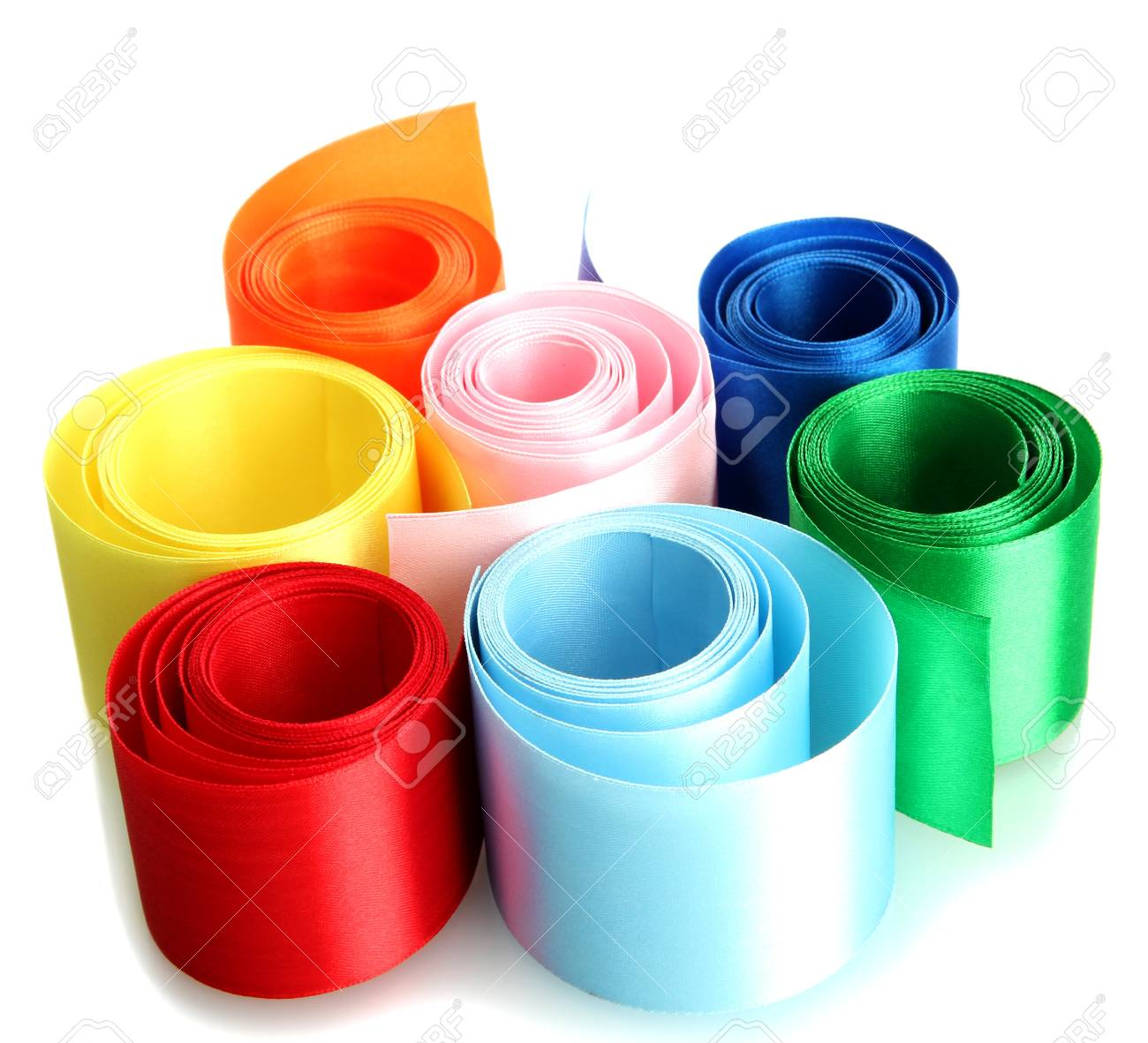 bright silk ribbons, isolated on white Stock Photo - 16998907