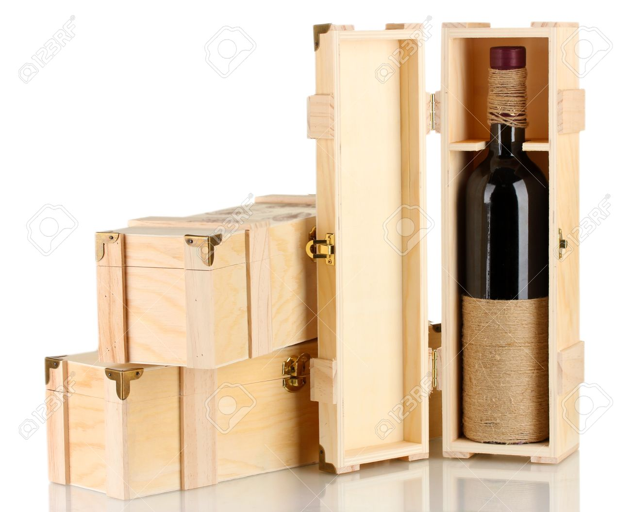 Wine Bottle In Wooden Box Isolated On White Stock Photo Picture