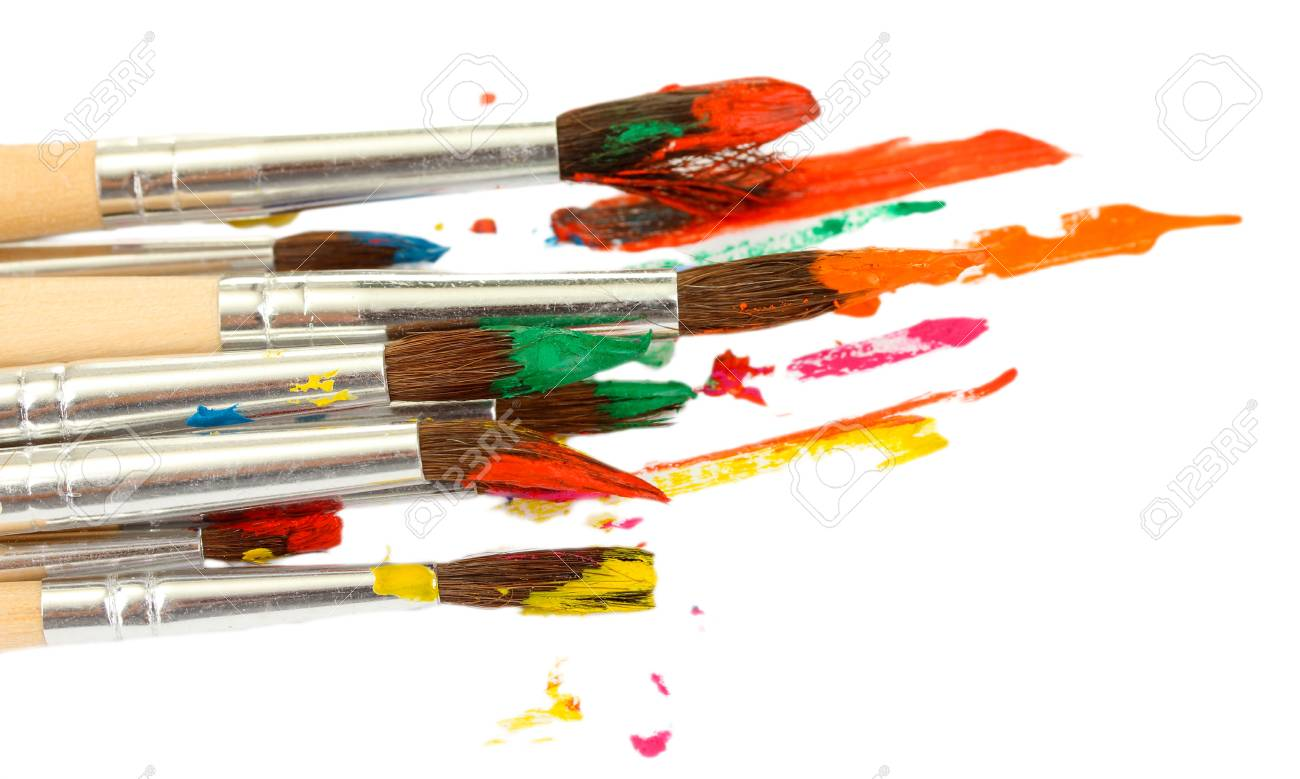 Paint brushes with gouache isolated on white Stock Photo - 17036785