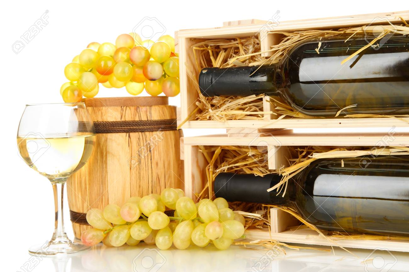 Wooden case with wine bottle, barrel, wineglass and grape isolated on white Stock Photo - 17038067