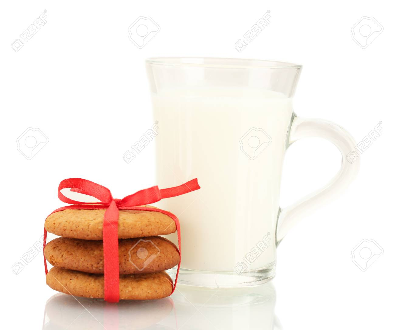 Ginger cookies and milk in glass isolated on white Stock Photo - 17051982