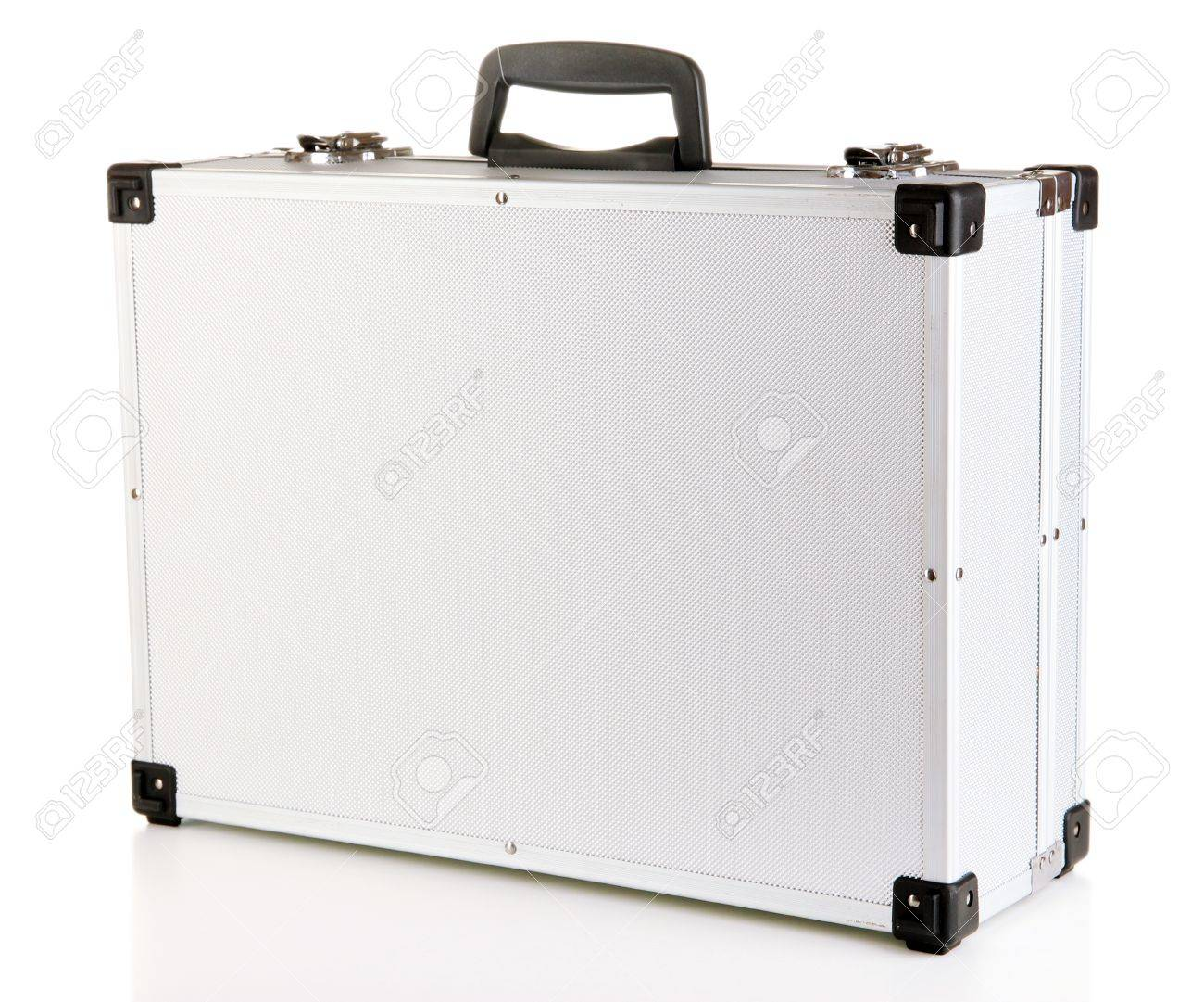 Silvery suitcase isolated on white Stock Photo - 17053084