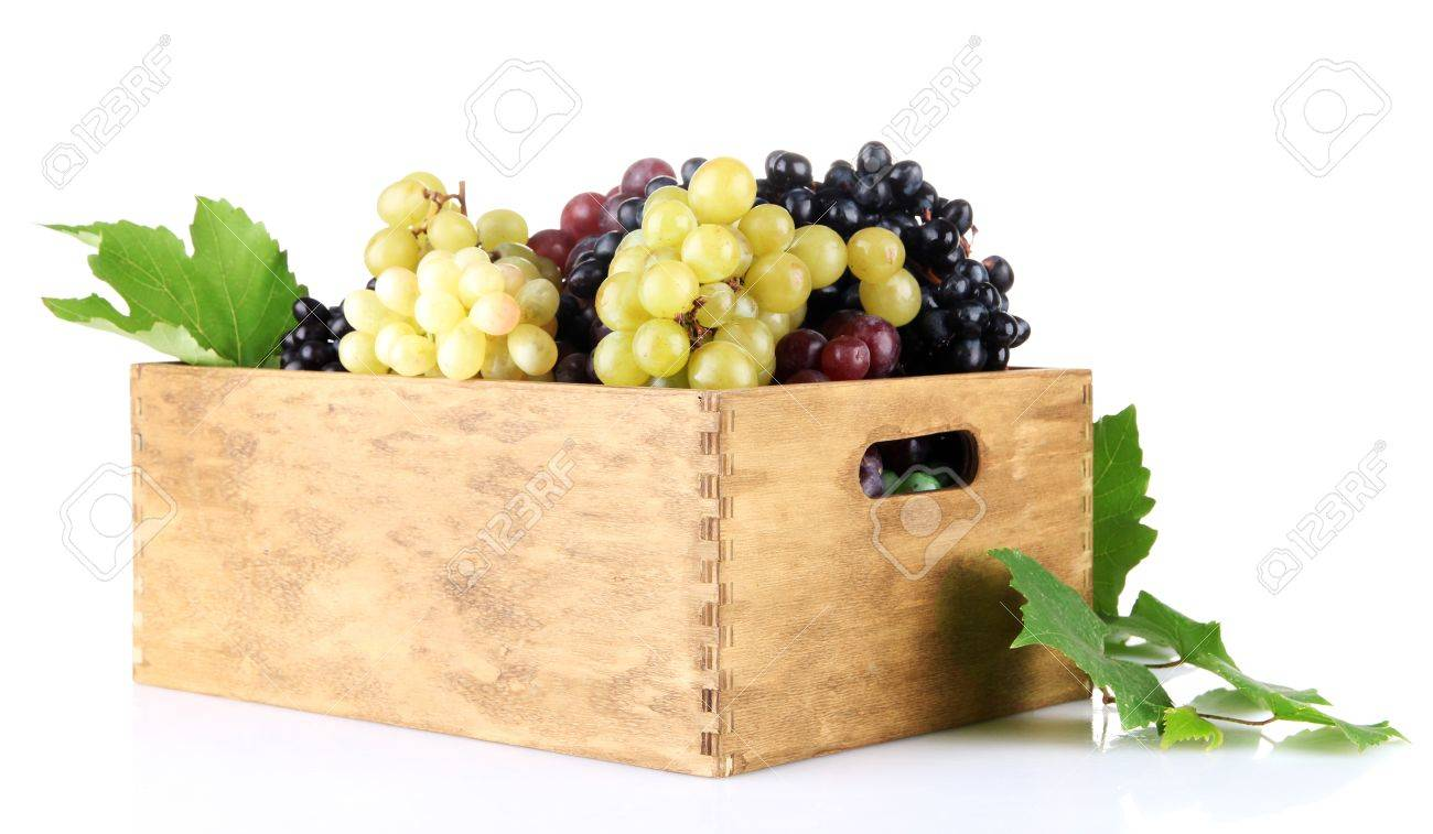assortment of ripe sweet grapes in wooden crate, isolated on white Stock Photo - 17112083