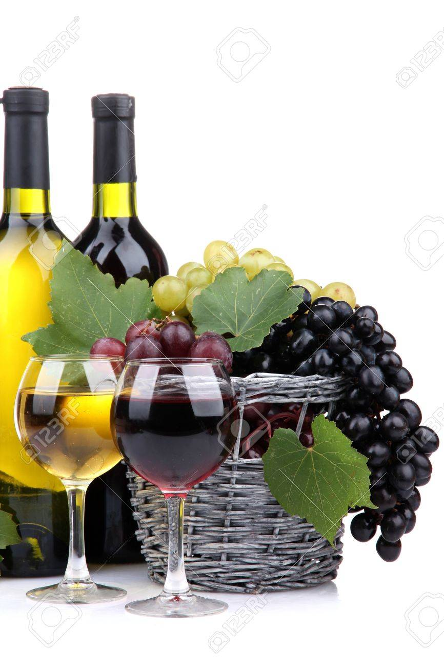 bottles and glasses of wine and grapes in basket, isolated on white Stock Photo - 17116627
