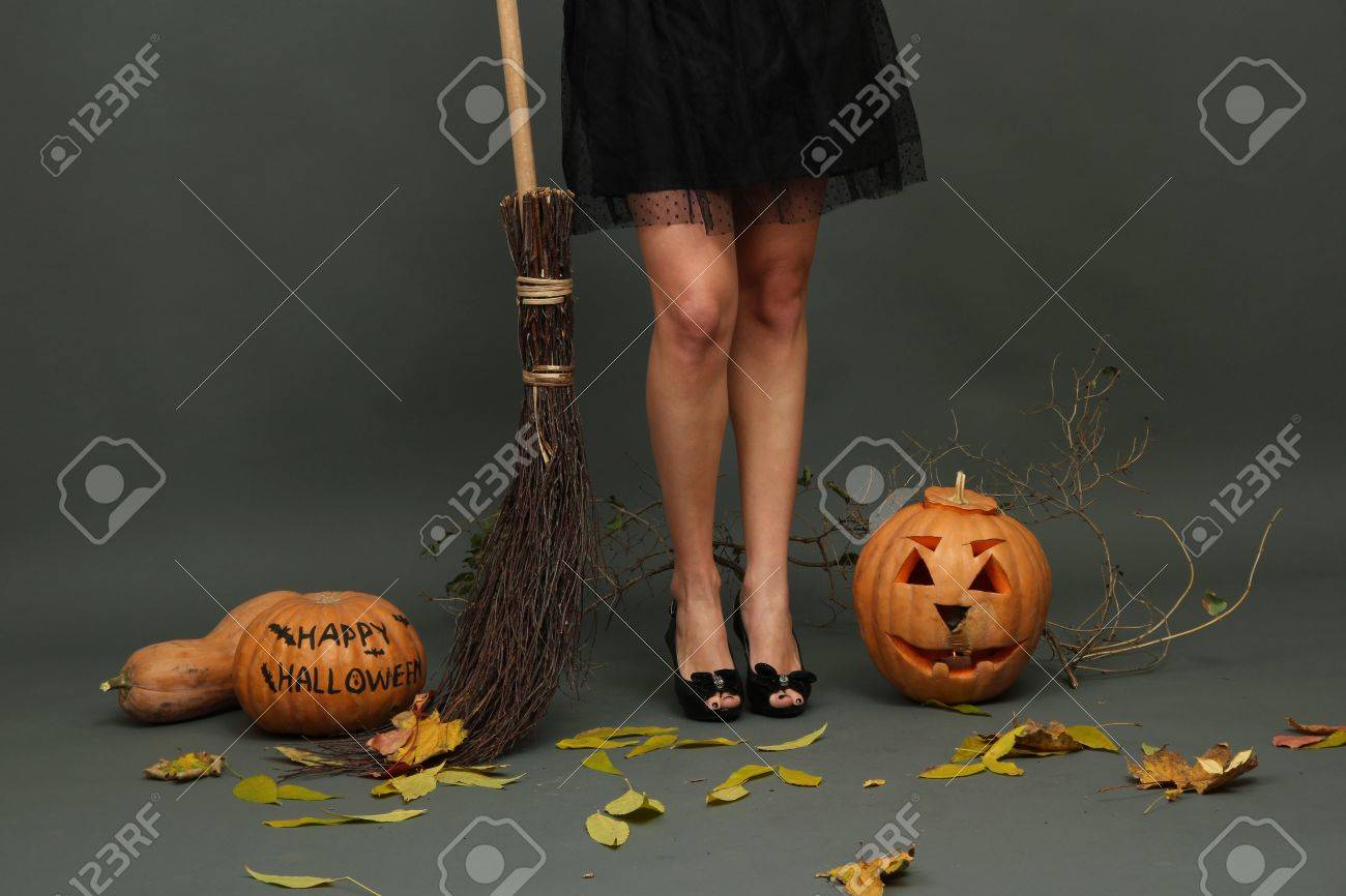 Halloween background with pretty female legs Stock Photo - 17143591