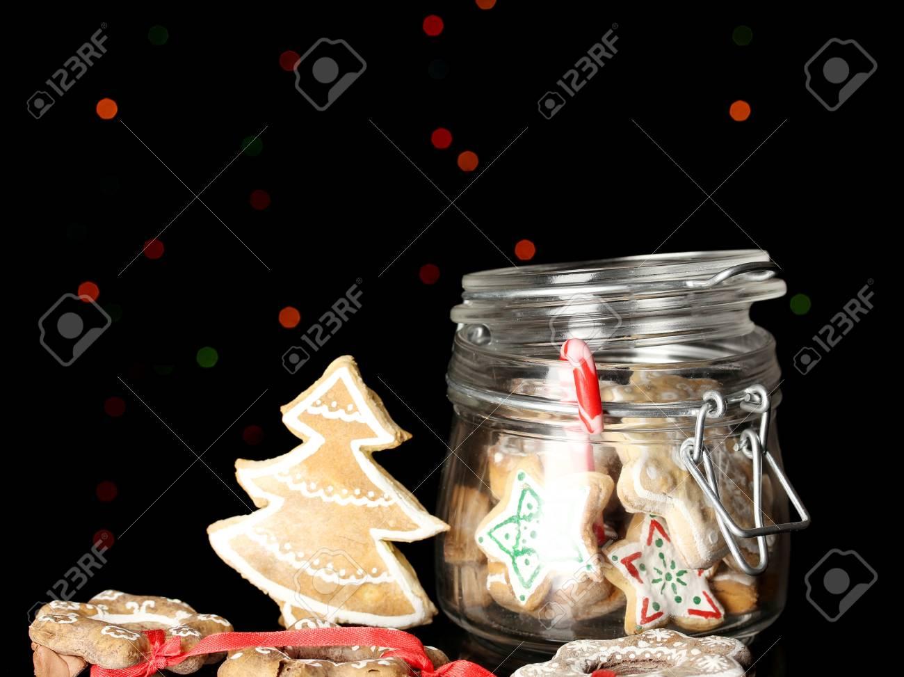 Christmas treats in bank on Christmas lights background Stock Photo - 17140219