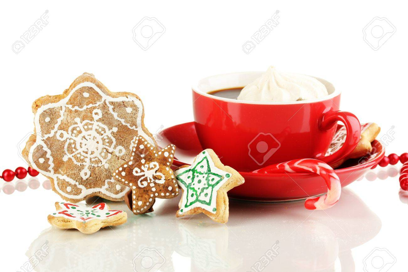 Christmas treats with cup of coffe isolated on white Stock Photo - 17216140