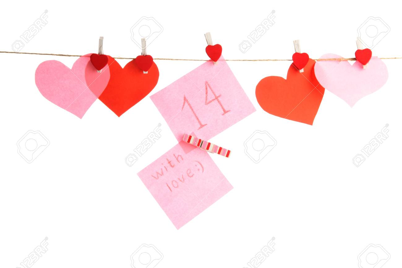 paper hearts and card on rope, isolated on white Stock Photo - 17263201