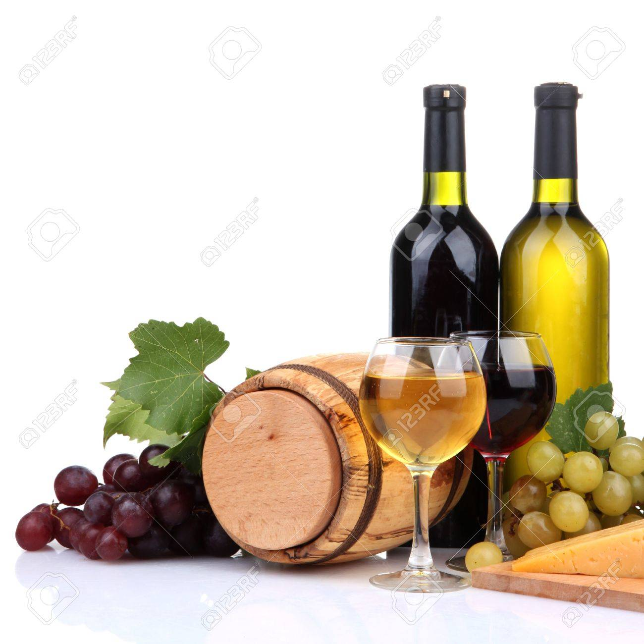 Barrel, bottles and glasses of wine, cheese and grapes, isolated on white Stock Photo - 17290120