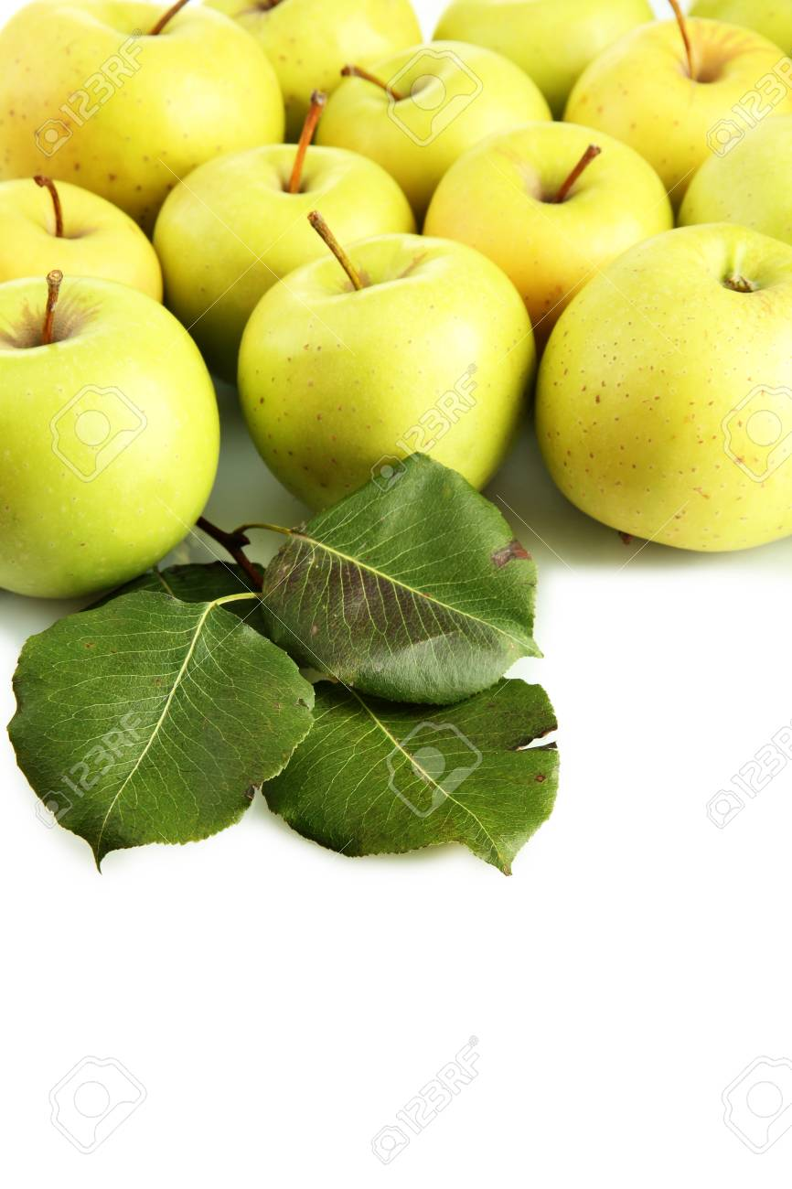 juicy apples with green leaves, isolated on white Stock Photo - 17291875