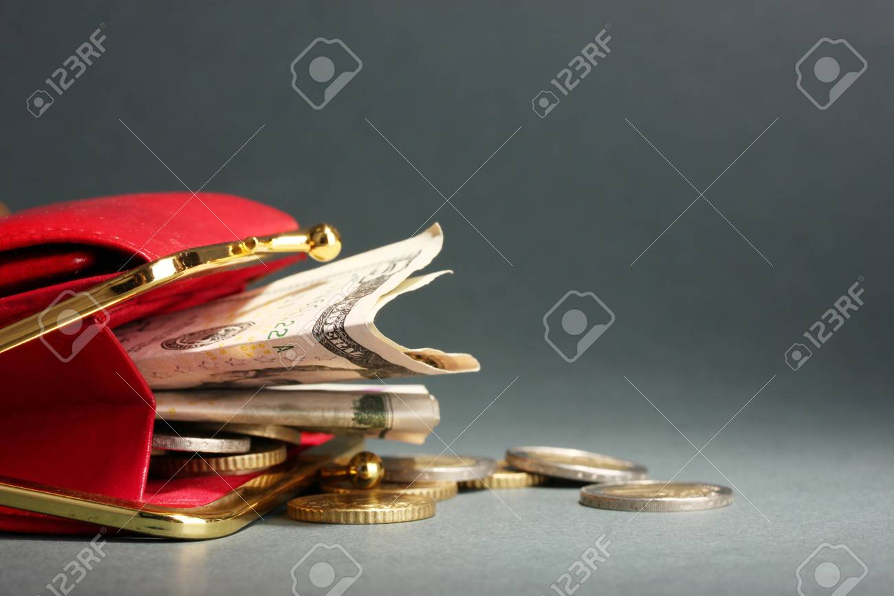 female red wallet with money on grey background Stock Photo - 17292113