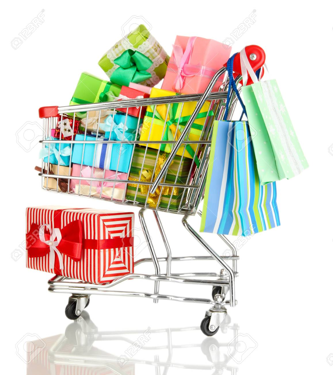 Christmas gifts and shopping in trolley isolated on white Stock Photo - 17476942