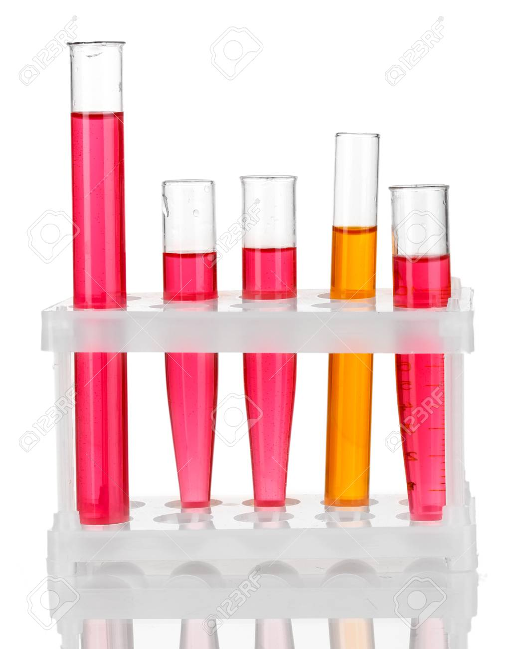 Test-tubes with a colorful solution isolated on white Stock Photo - 17516678
