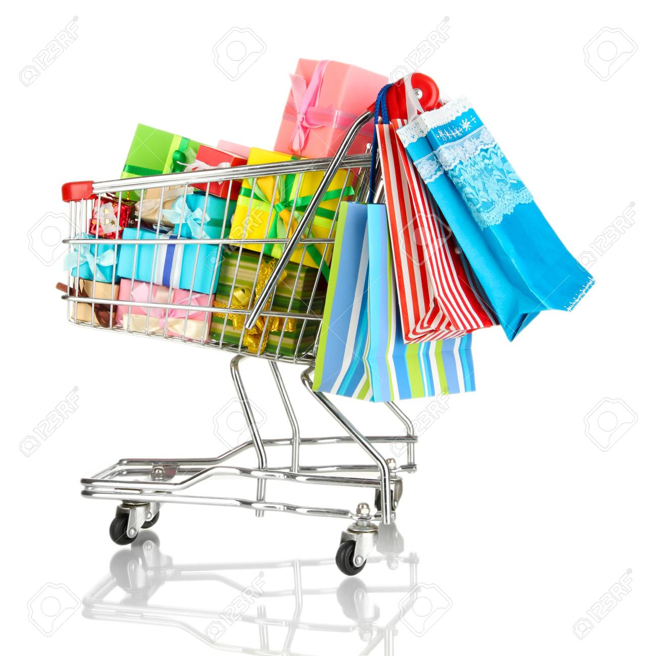 Christmas gifts and shopping in trolley isolated on white Stock Photo - 17516905