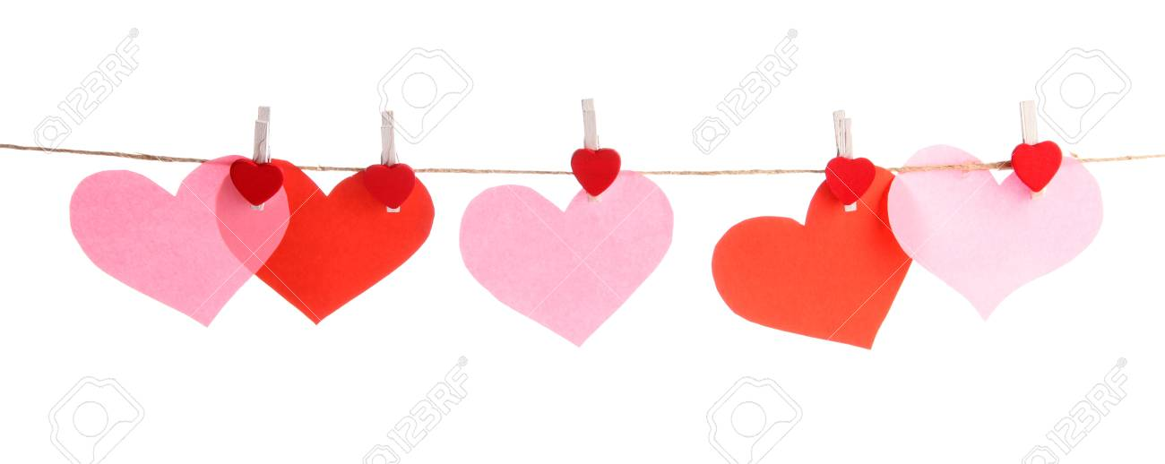paper hearts and card on rope, isolated on white Stock Photo - 17516581