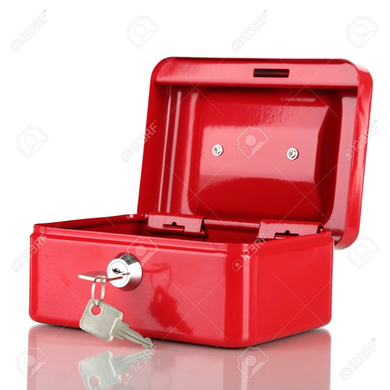 Open red case isolated on white Stock Photo - 17663088