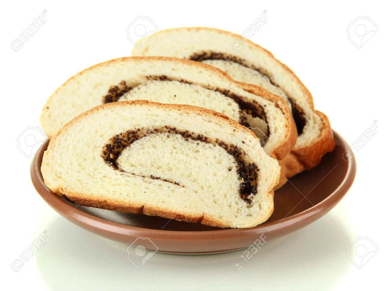 Loaf with poppy seeds on color plate, isolated on white Stock Photo - 17769201