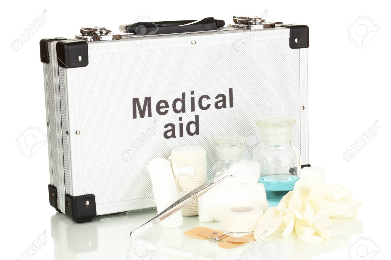 First aid kit for bandaging isolated on white Stock Photo - 17864455