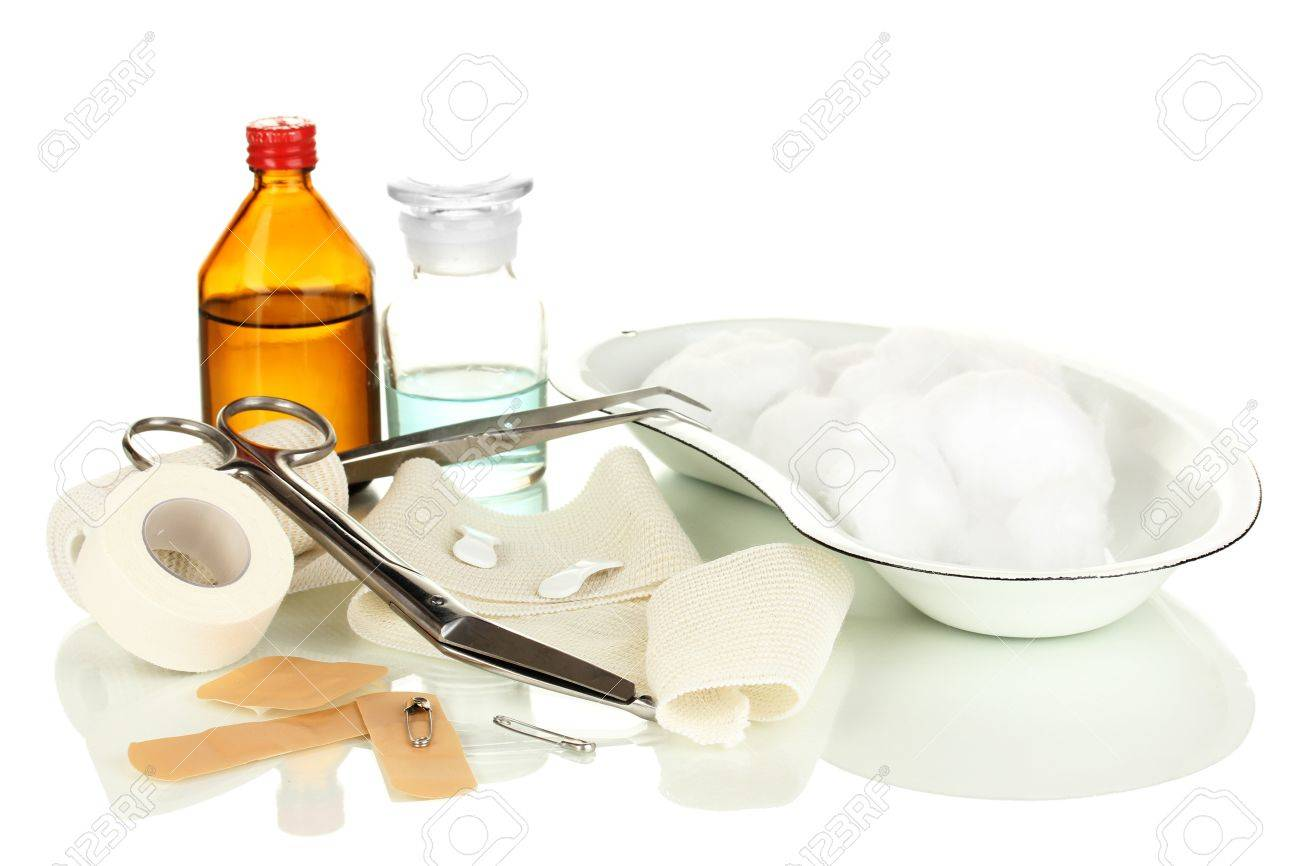 First aid kit for bandaging isolated on white Stock Photo - 18086176