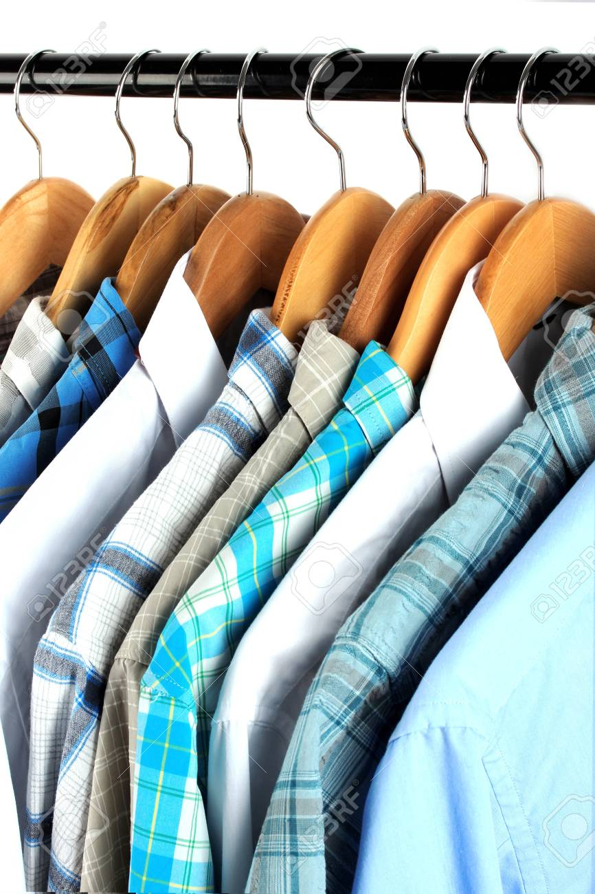 Shirts with ties on wooden hangers close-up Stock Photo - 18088730